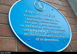 The blue commemorative plaque for the Live at Leeds concert, which can be found on the wall of the student union at Leeds University.
