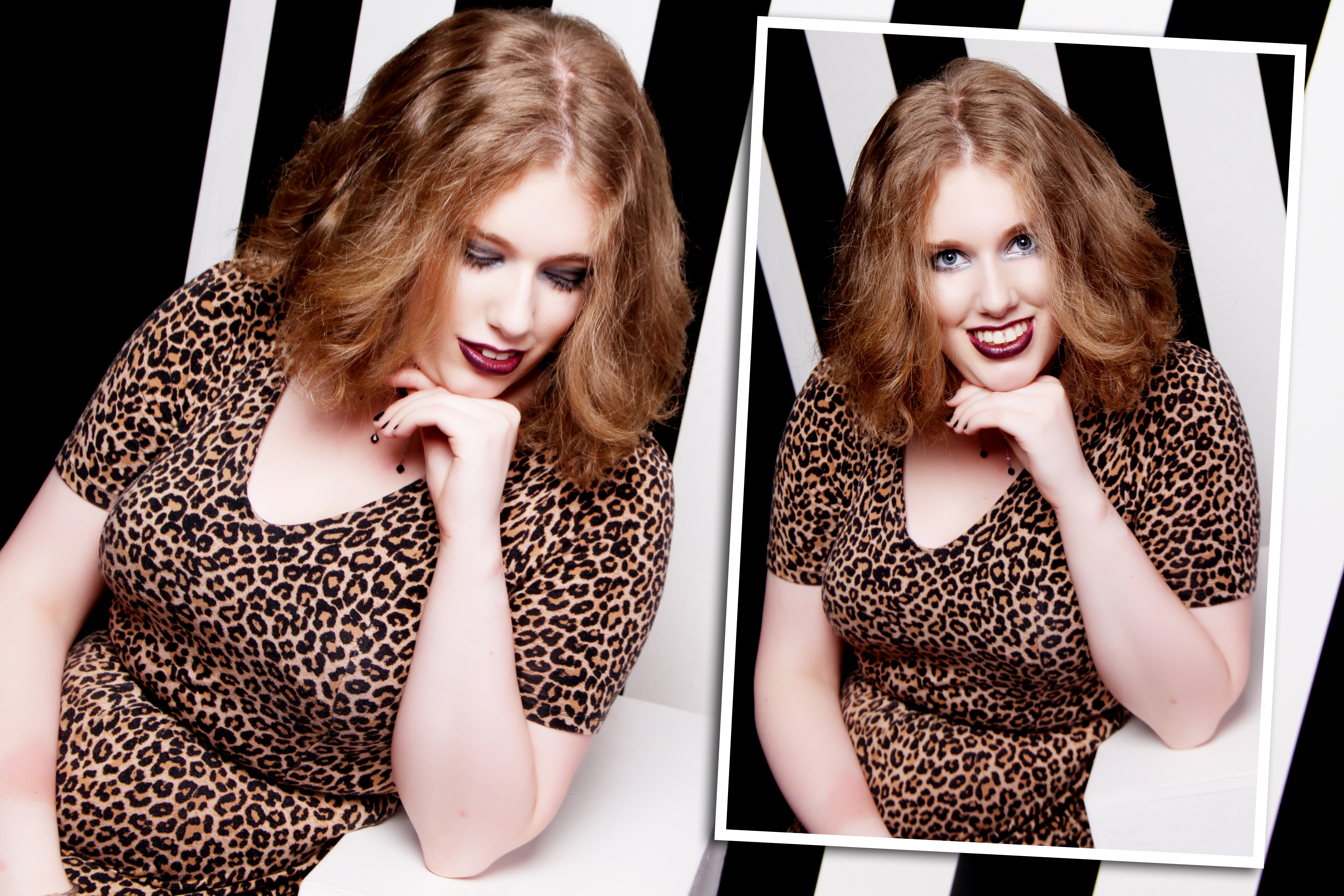 Taken from a professional photo shoot. I'm wearing a leopard print dress with a fitted top & short sleeves, and a thin black belt at my waist. My hair is loose. On the left I'm looking down, & on the right I'm looking at the camera.