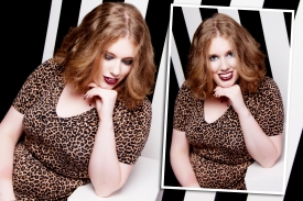 Image description: taken from a professional photo shoot. I'm wearing a leopard print dress with a fitted top & short sleeves, and a thin black belt at my waist. My hair is loose. On the left I'm looking down, & on the right I'm looking at the camera.