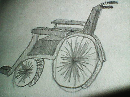 Image description: a black and white pencil sketch of a manual, self-propelled wheelchair. I drew this as a teenager.