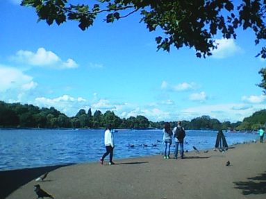 Looking out over the Serpentine in Hyde Park.