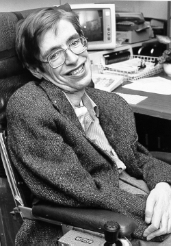 Image description: a black-and-white photograph of Stephen Hawking in a lab.