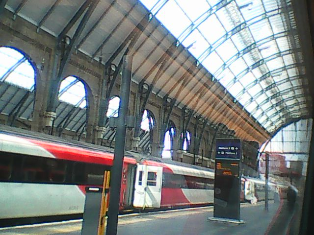Taken from the train window before we set off, looking out over the platforms of King's Cross at another train.
