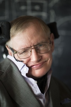 Image description: a colour photograph of Stephen Hawking.