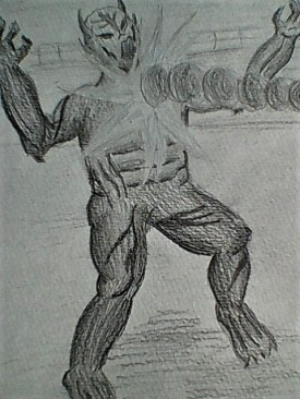 Image description: a black and white pencil sketch of the demon, as a ray from the plasma gun hits his chest.