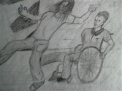 Image description: a black and white pencil sketch of Steve kicking the back of the trouble-makers knees, knocking him over.k