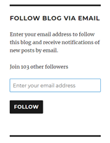 Image description: a screenshot of where to enter your email address to Follow my blog via email.