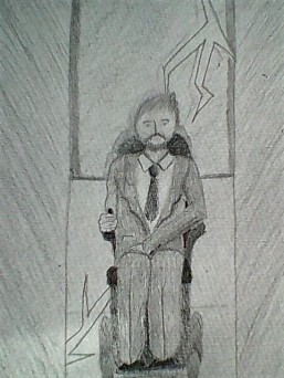 Image description: a black and white pencil sketch of Matt as the lift doors open, just as the lightning strikes.