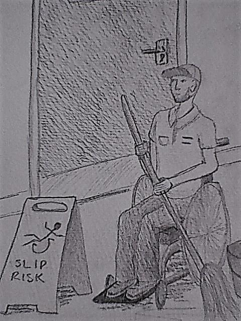 Image description: a black and white pencil sketch of Agent 48, disguised as a janitor, mopping the floor. He's sat next to a wet floor sign, and the falling stick man on the sign happens to be in a wheelchair.