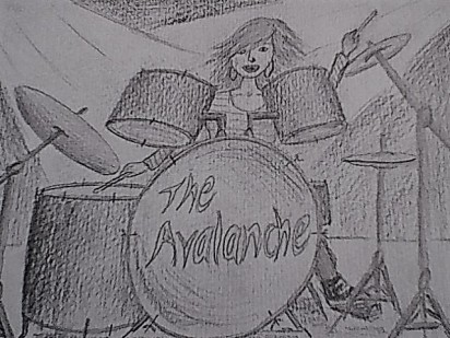 Image description: a black and white pencil sketch of Lily behind the drum kit.