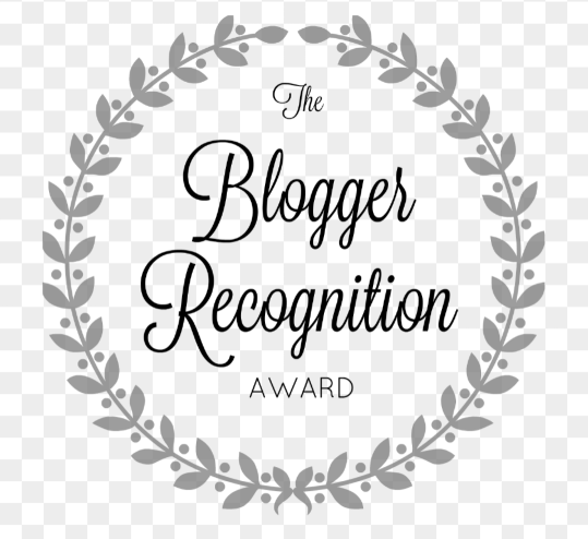 Image description: the Blogger Recognition Award logo. The text is in the centre of a simple wreath, all black & white.
