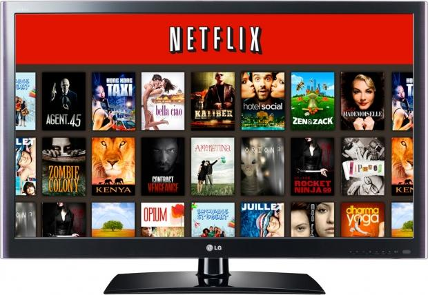 "Image description: a TV displaying the Netflix home screen""."