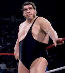 Image description: Andre the Giant stood against the ropes of a wrestling ring at the height of his fame.