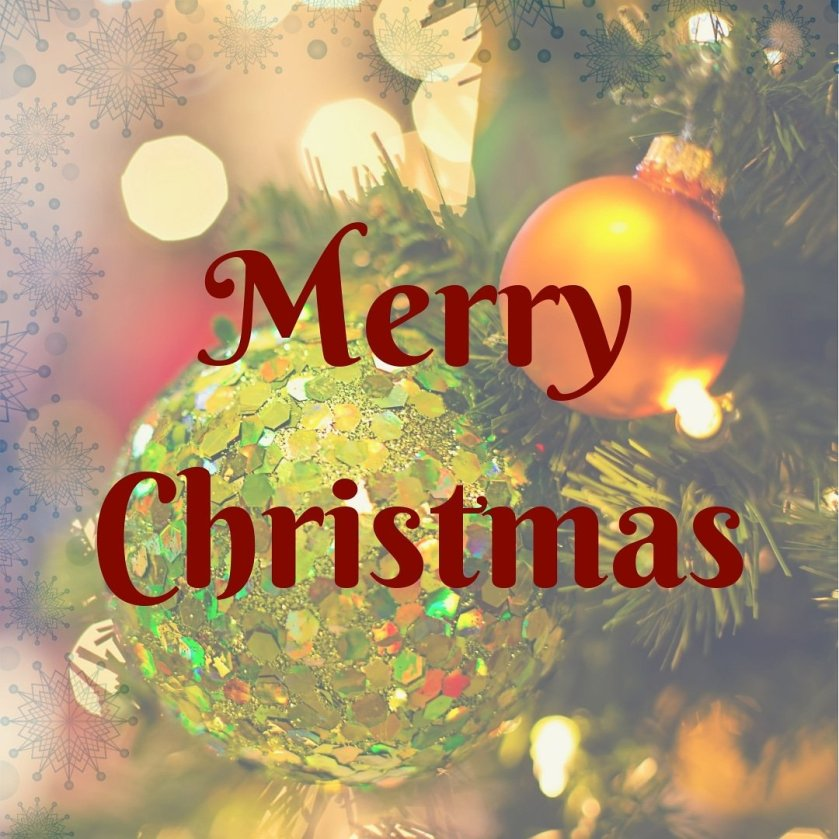 Image description: Merry Christmas written in dark red over a faded image of Christmas tree decorations, with light blue snowflakes bordering the top & left of the image.