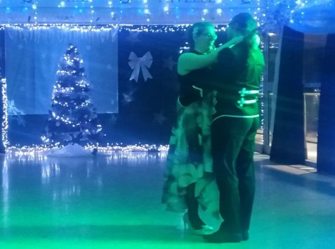 Another photograph of the first dance taken by a friend, managing to get the Christmas tree in the background.