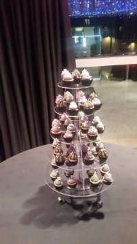 The tower of cupcakes we had in place of a wedding cake.