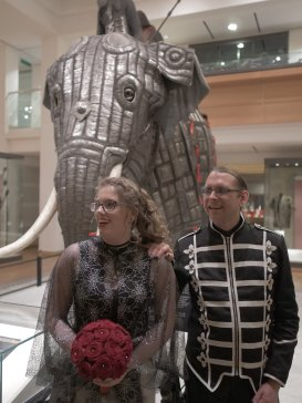 Stood in front of the armoured War Elephant in the Royal Armouries in Leeds at our wedding.
