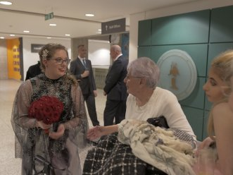 Greeting my grandmother at the reception.
