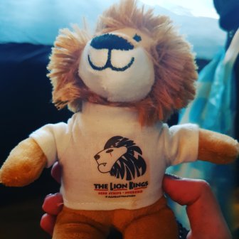 A photograph of the teddy bought at the show; it's a lion wearing a t-shirt for The Lion Kings, one of the tag-teams performing that night. I called him Sebastian Durreiss Warrior after the members of the tag team.