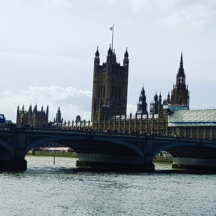 The Palace of Westminster as seen from the South Bank of the River Thames.