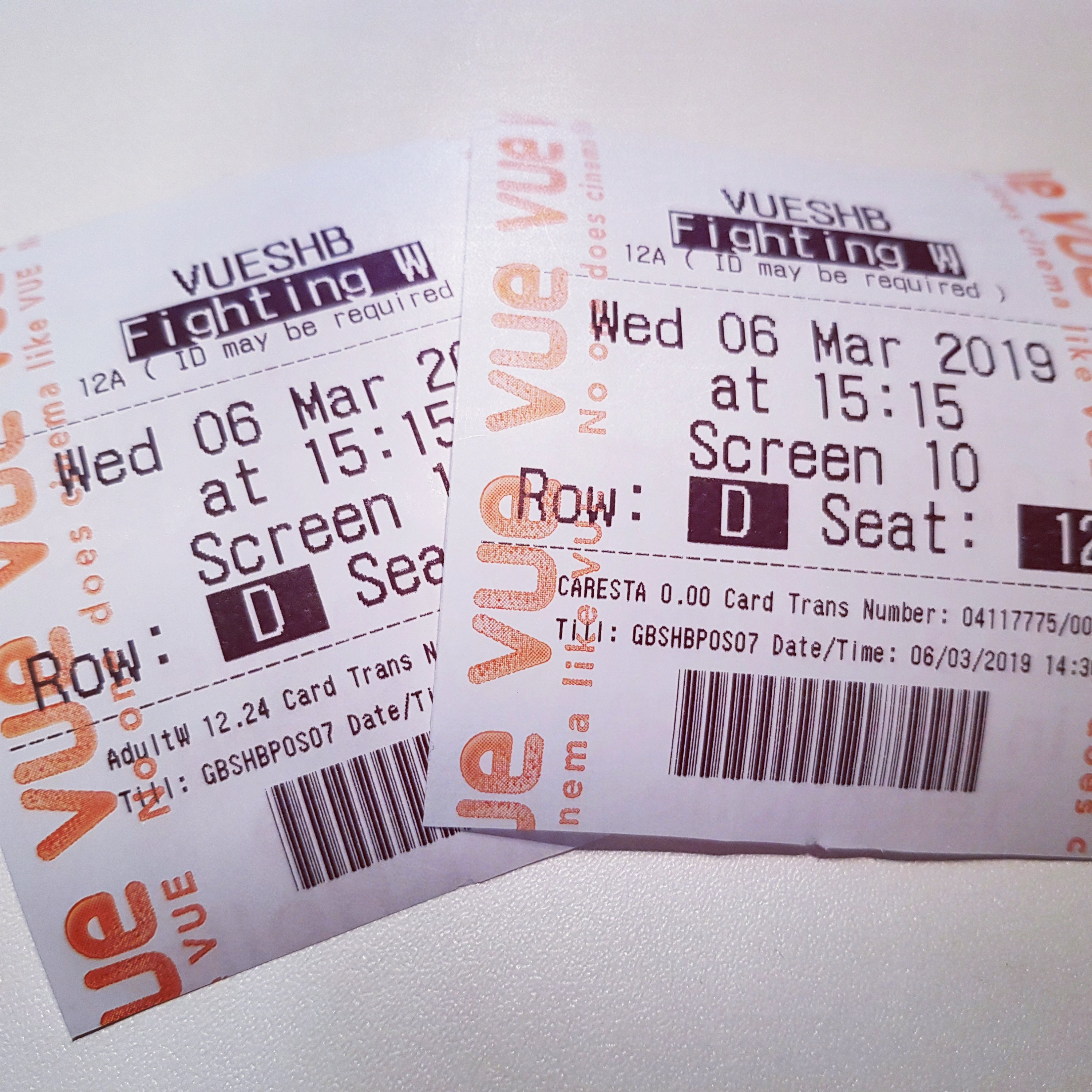 The cinema tickets for Fighting with my Family.