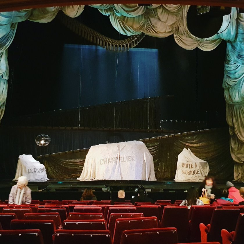 Inside Her Majesty's Theatre, before the show began.