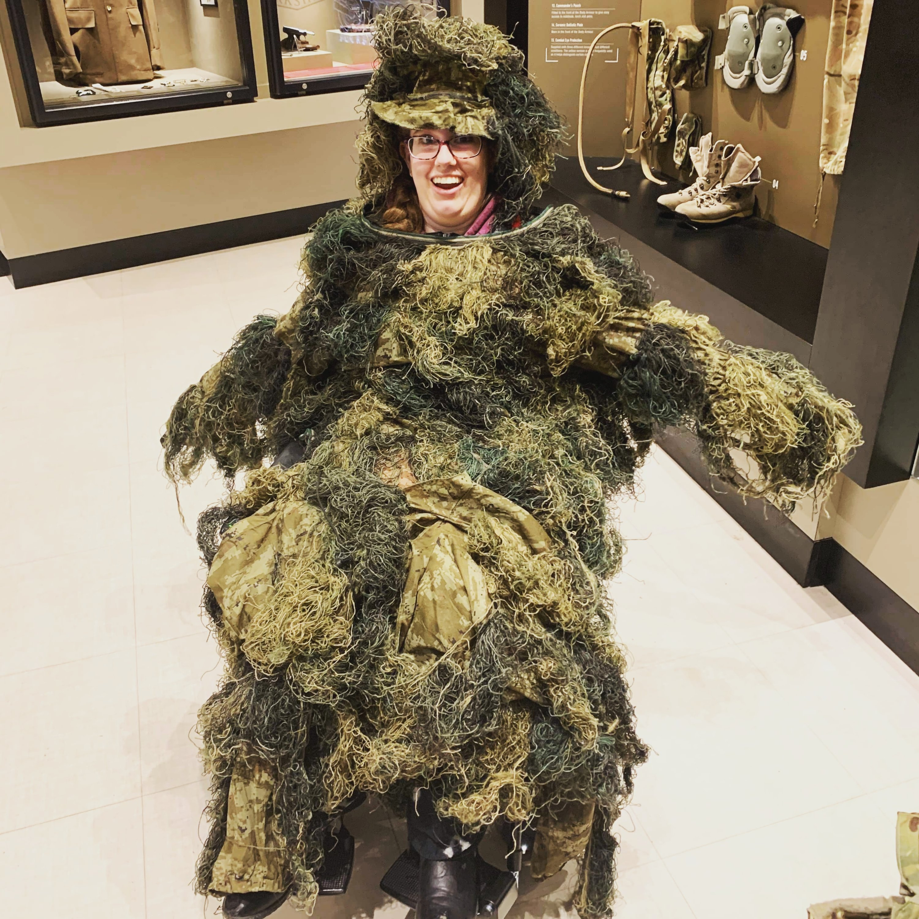 Sat in the York Army Museum in my wheelchair, covered in various military stealth clothes. I look ridiculous.