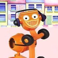 Dizzy the orange cement mixer from Bob the Builder, with headphones on.