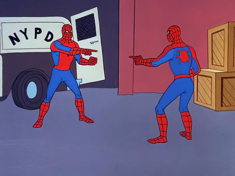 Identical spider-man-costumed men pointing at each other.