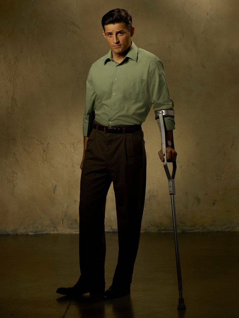 Daniel Sousa leaning on his crutch.