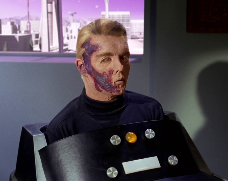 Captain Pike disfigured after his accident.