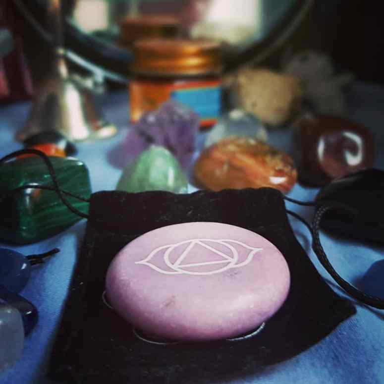 The crystals and meditation stone I regularly make use of.