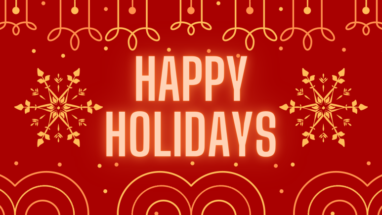 Happy Holidays in gold, glowing letters on a deep red background. Surrounded by golden swirls and snowflakes.