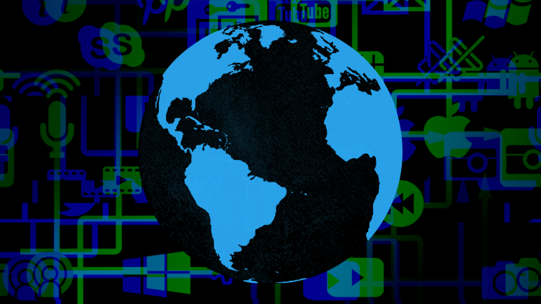 Image of the globe on a background of social media and tech company logos.