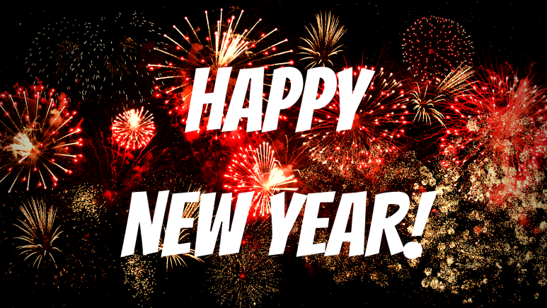 Happy New Year! Bold white text in front of fireworks.