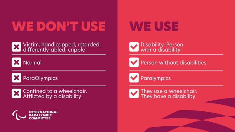 Paralympics Language Infographic. We don't use: victim, handicapped, retarded, differently-abled, cripple, normal, ParaOlympics, confined to a wheelchair, afflicted by a disability. We use disability, person with a disability, person without disabilities, Paralympics, They use a wheelchair, They have a disability.